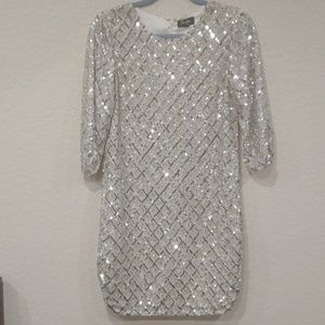 Parker Sequin Dress size 2 silver white
